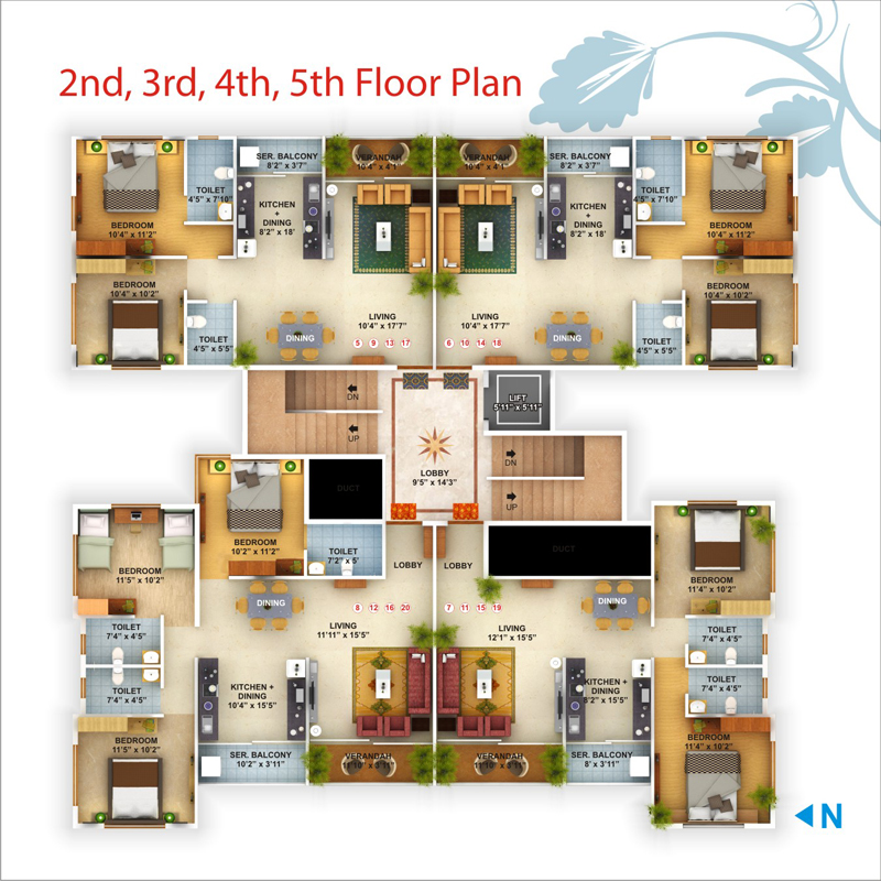 Ground Floor Plan First Floor Plan 2,3,4,5 Floor Plan